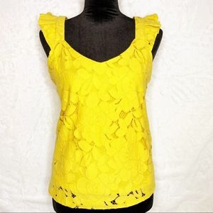 MONTEAU Gold Yellow Crochet Floral Lace Ruffle Top